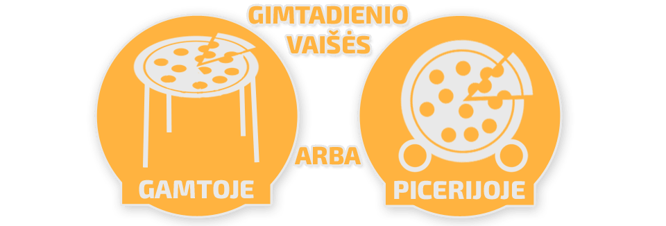 Gimtadienio vaišės gamtoje arba picerijoje
