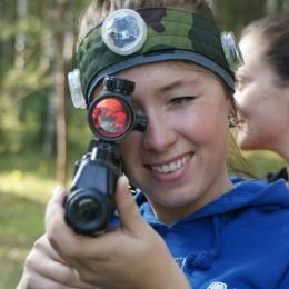 Nice women with Laser Tag gun in Vilnius